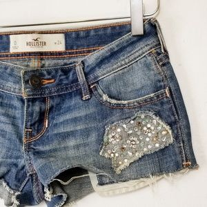 .Hollister//Denim mini shirts embellished pockets